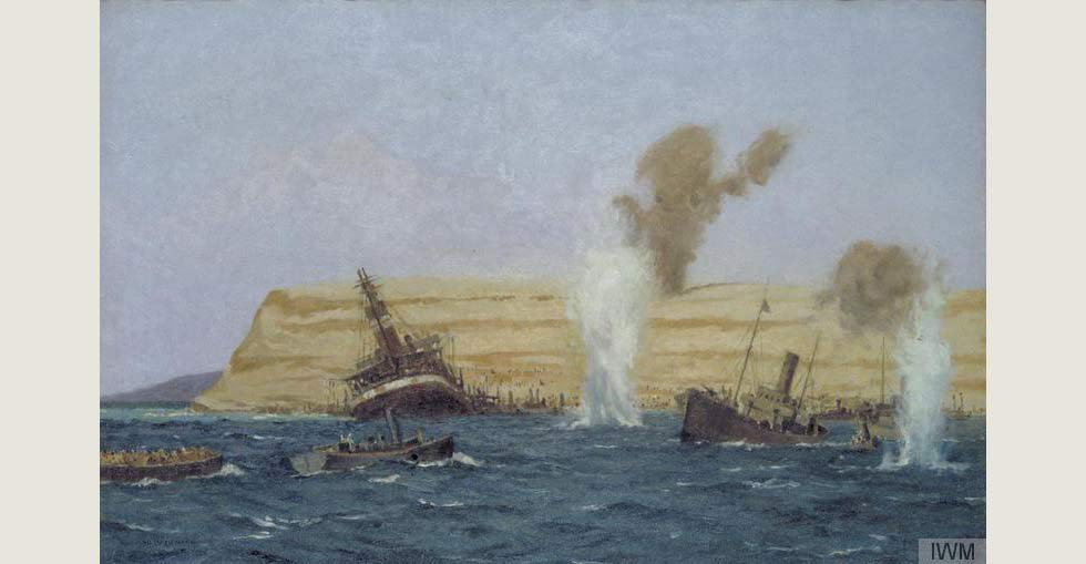 The Base Camp, Cape Helles, Under Shell Fire, August 1915: The 'SS River Clyde' is seen aground. Painted by Norman Wilkinson.