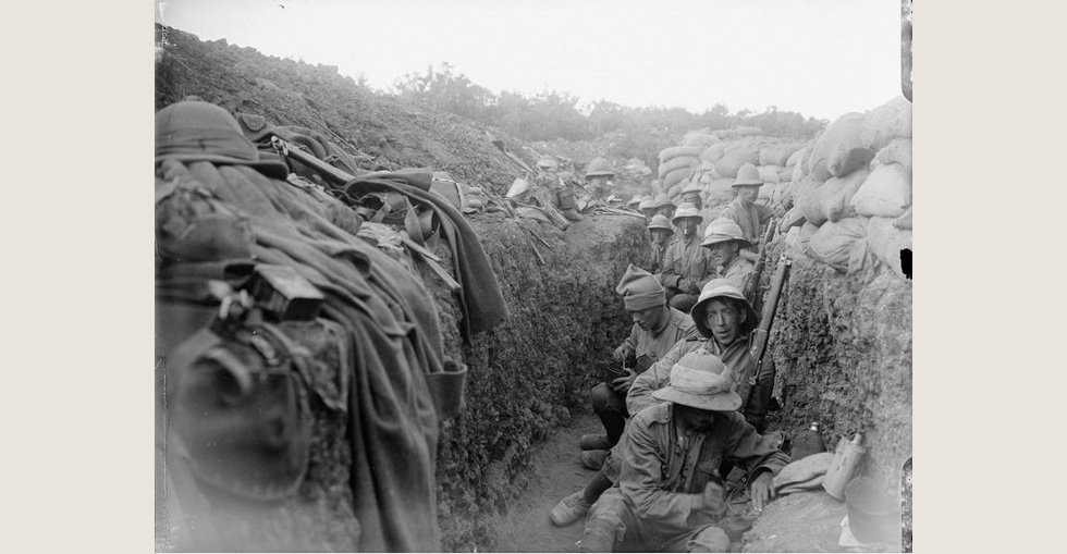 Troops of the 5th Battalion, Royal Irish Fusiliers (10th Irish Division) in the trenches.
