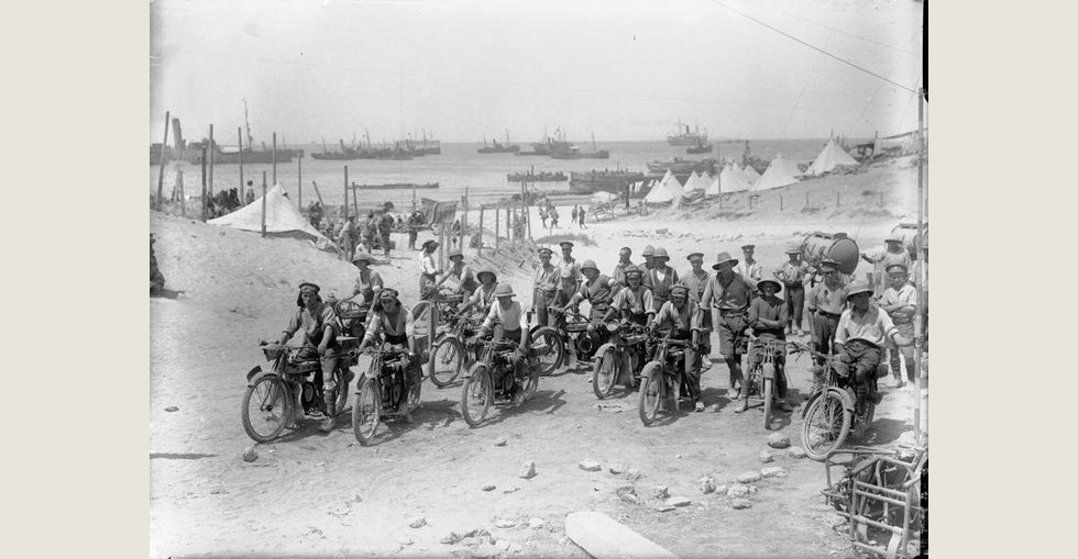 Despatch riders of the Royal Engineers on a beach at Gallipoli.