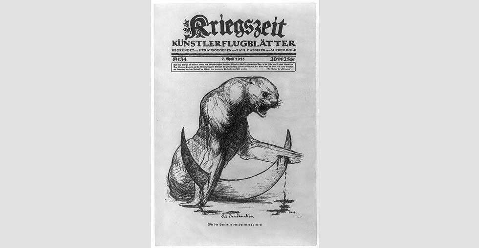 A small sea-lion, representing Great Britain, with flippers impaled on points of Turkish crescent. The cartoon refers to the British defeat by Turkey in the Dardanelles campaign, 1915.