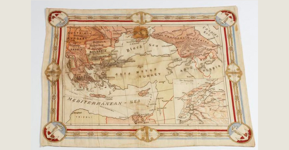 First World War period fabric map of the Dardanelles sold as a souvenir of the 1915 Gallipoli campaign