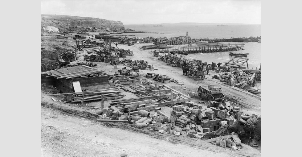 Supplies and engineering stores at 'Lancashire Landing', 'W' Beach, Cape Helles, 8 Jaunuary 1916, just prior to the final evacuation of British troops.