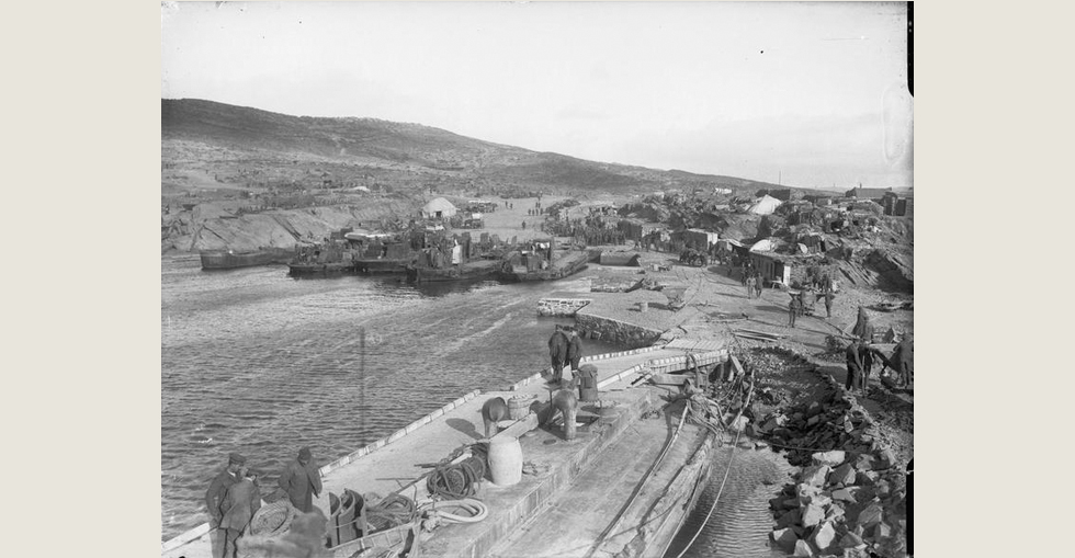 The scene at Suvla Point ('A' West Beach) prior to the evacuation. Note the 'beetles' in the harbour constructed by 5th Anglesey Company, Royal Engineers, December 1915.