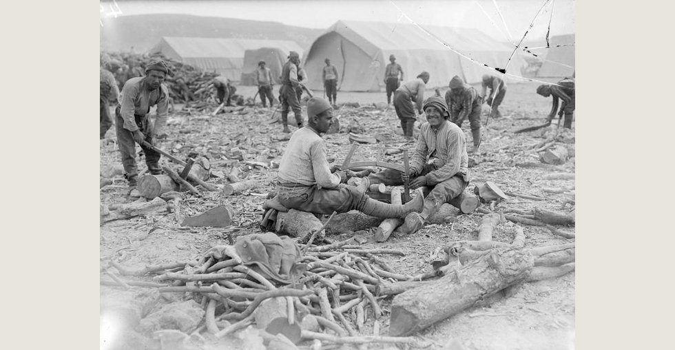 Turkish prisoners chopping up firewood, which was very scarce.