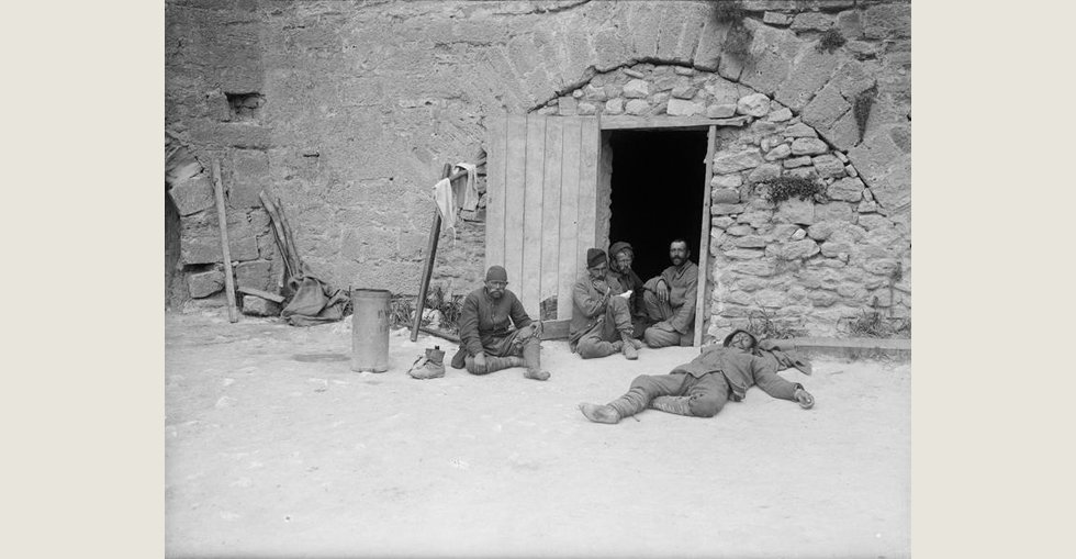 Turkish prisoners captured during the landings at Gallipoli seen in the courtyard of the old fort at Sedd el Bahr, Cape Helles, Turkey.