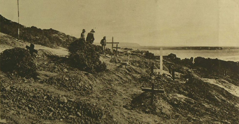 A cemetery for Australian officers killed in Gallipoli, with Gaba Tepe in the distance