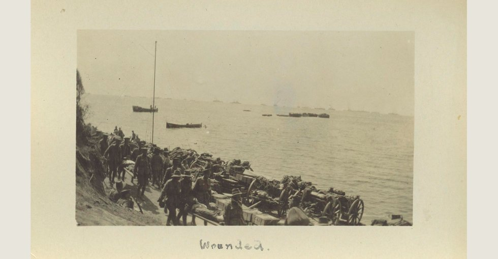 Wounded on a Gallipoli beach