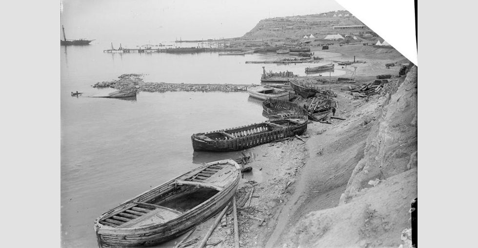 View of 'W' Beach (Lancashire Landing), Cape Helles, showing wreckage caused by the southerly gale.