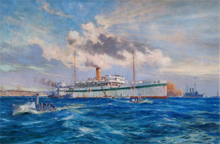 The Royal Navy hospital ship Somali off Cape Helles. (Imperial War Museum)