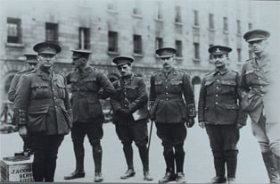 Members of the 7th Battalion Royal Dublin Fusiliers in the Royal Barracks before departing for Basingstoke, April 1915. (NMI)