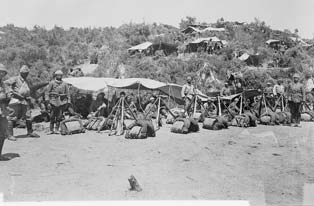 Turkish soldiers at camp in Gallipoli. (Library of Congress)