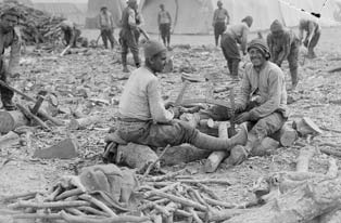 Turkish prisoners chopping up firewood, which was very scarce. (Imperial War Museum)